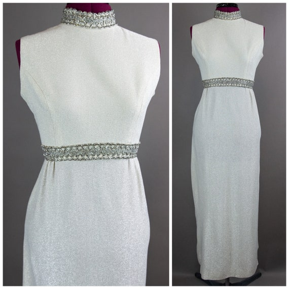 1960s Small Silver Lamé Gown - Lamé Gown - Evening