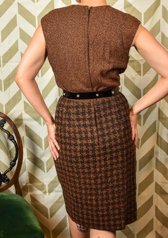 Houndstooth L'Aiglon Dress 1950s Rocksbilly Secretary Dress Tone Wiggle Two Vintage Brown Dress Sleeveless Dress PinUp Dress 4Hn8v