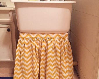 Sink Skirt   Custom   Shirred With Slit For Pipe   Choose Your Own Fabric  And