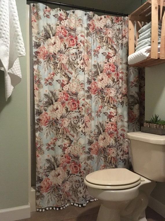 Shower Curtain W Pompom Trim LINED 76 X 80 L