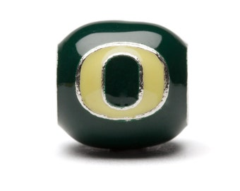 Green and Yellow Round Oregon O Bead Charm For Bracelet or Necklace - Lifetime Guarantee