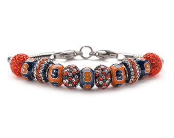 Syracuse University Orange and Navy S Round Bead Charm Bracelet Jewelry