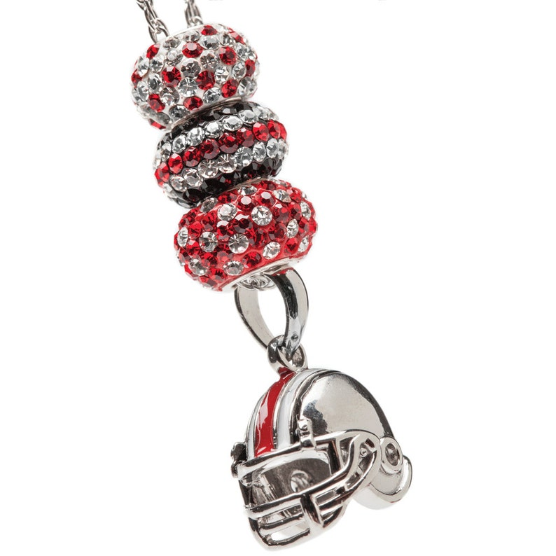 White and Black Football Helmet Charm Pendant Necklace OSU Red