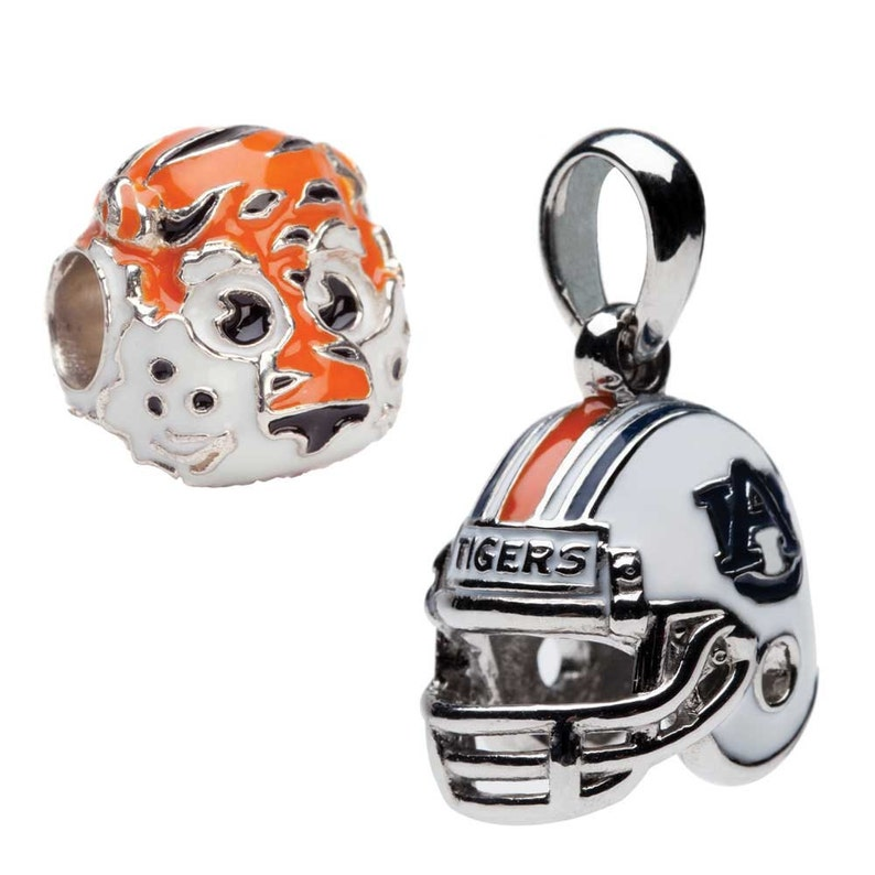 Auburn Charm Bracelet and Necklace Bead Charms-Football Helmet And Aubie Set Of Two