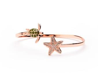 Turtle and Starfish Full Copper Bangle Bracelet