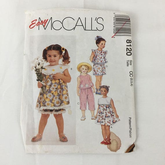 Mccalls 8120 Uncut Easy Girls Sewing Pattern Dress Top Etsy