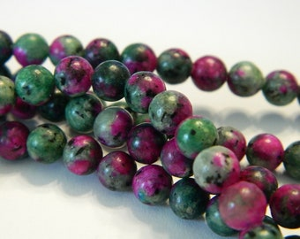 Rounds Craft Beads Zoisite Craft beads, 15 RUBY IN ZOISITE Synthetic Ruby in Zoisite Ruby In Zoisite Beads Synthetic