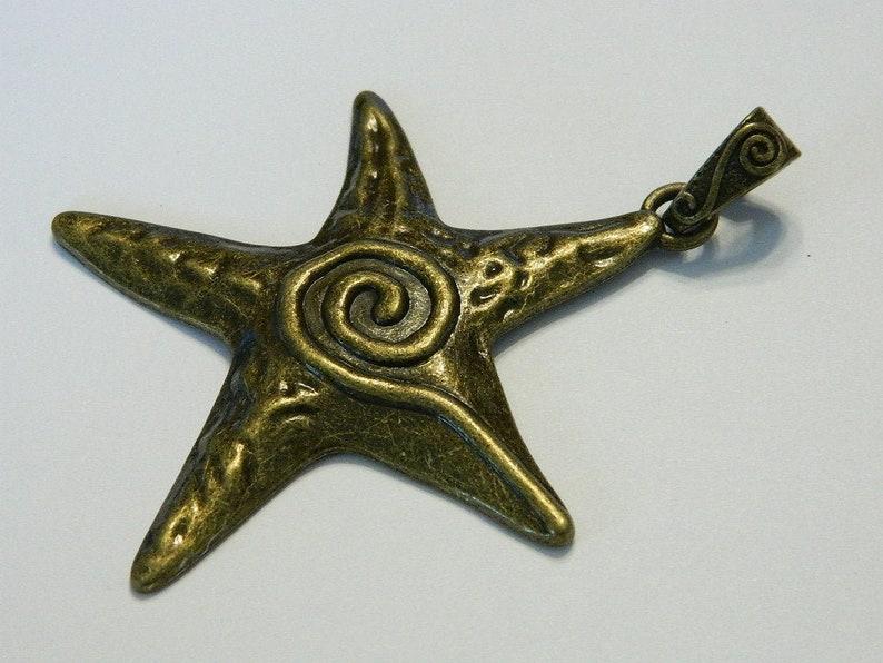 76MM Bronze Star Decorative Celestial Big Pendant Bead 1 Star Pendant VF19 Large Tibet Style Bronze Star With Swirl Amulet Pendant
