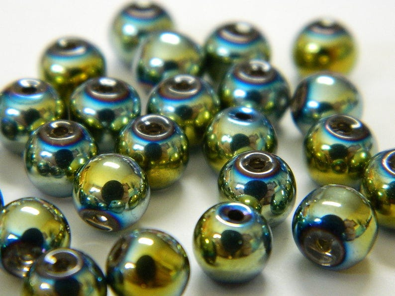 METALLIC PLATED MARDI GRAS GLASS BEADS 6mm 50 PER BAG MIXED COLOURS