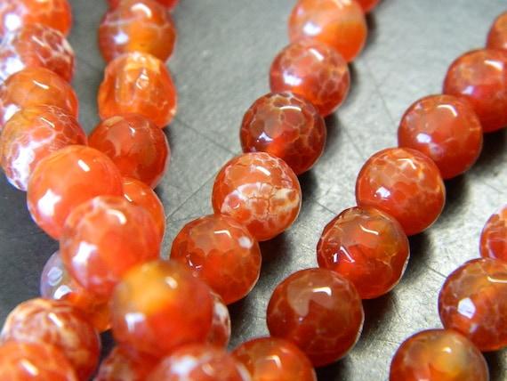 """OPACO FUOCO CRACLE agata pietra preziosa rotonda Perline 15.5/"""" 4mm 6mm 8mm 10mm 12mm fai da te"""