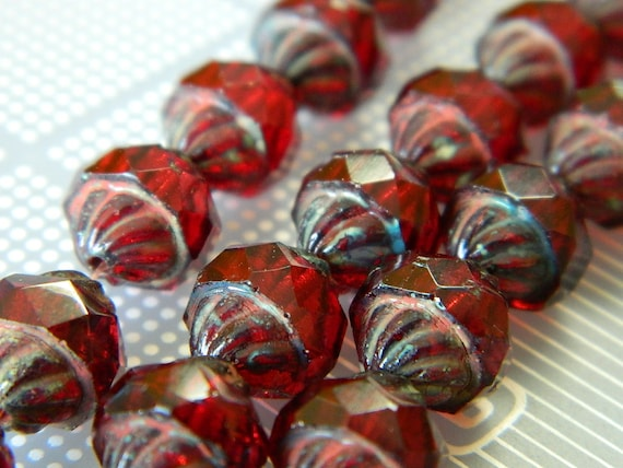 14 11x10mm Czech Glass Faceted Copper Luster Turbine Beads