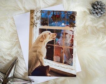 "Embossed Foil Merry Christmas Card Labrador ""It's Santa"", Unique Dog Christmas Card, Christmas Card Santa & Labradors, 5X7, blank, flat card"