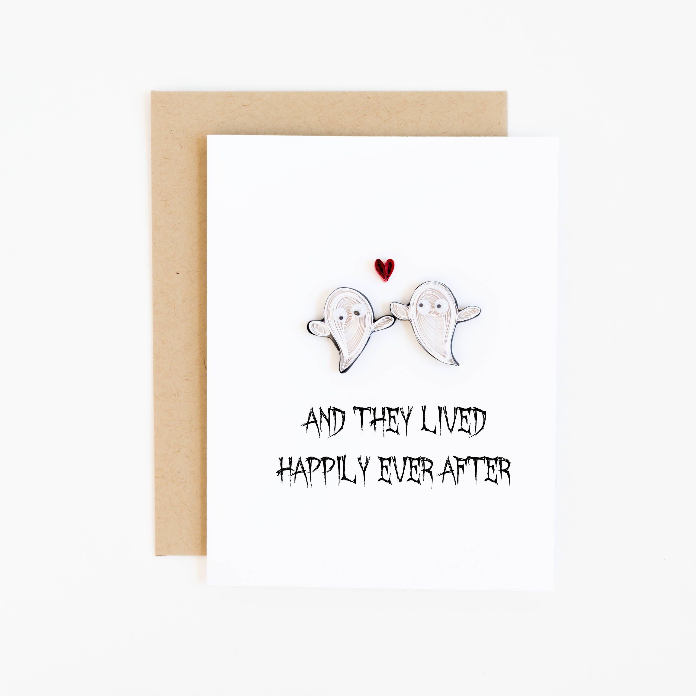 Halloween Wedding Card Paper Ghosts Spooky Themed Wedding Etsy