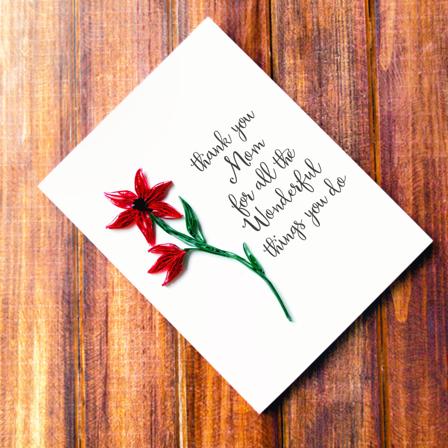 Thank You Mom Card Mother Card From Daughter Mother Etsy