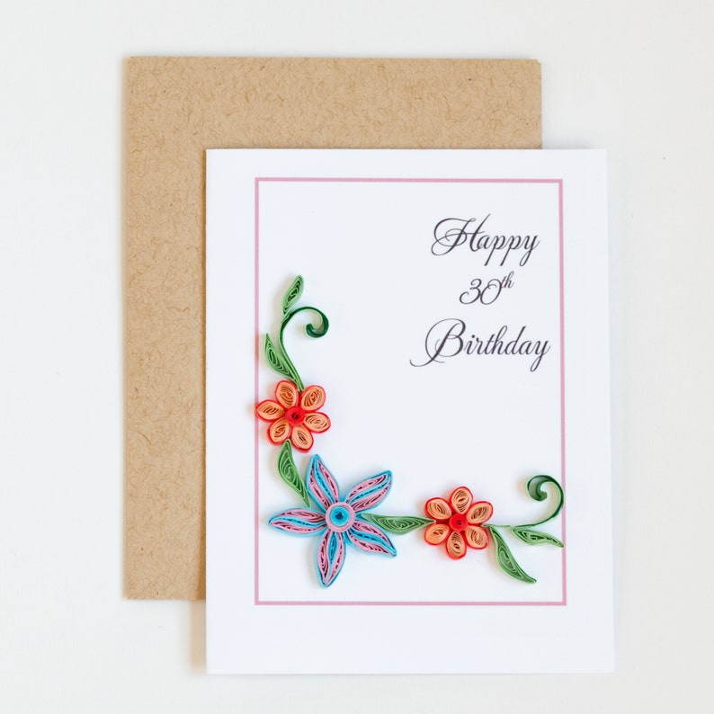 Happy 30th Birthday Card Choose Any Age Personalized Floral