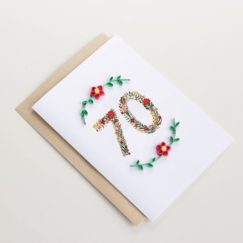 Happy 70th Birthday Card Floral Milestone Greeting