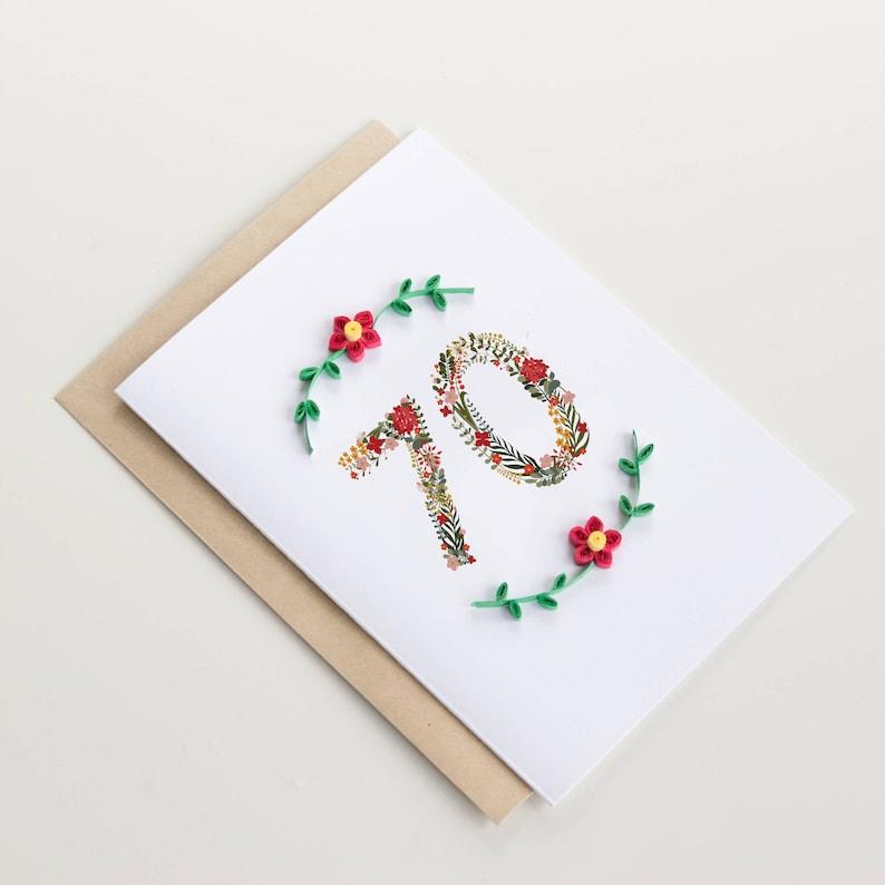 Happy 70th Birthday Card Floral Milestone Greeting