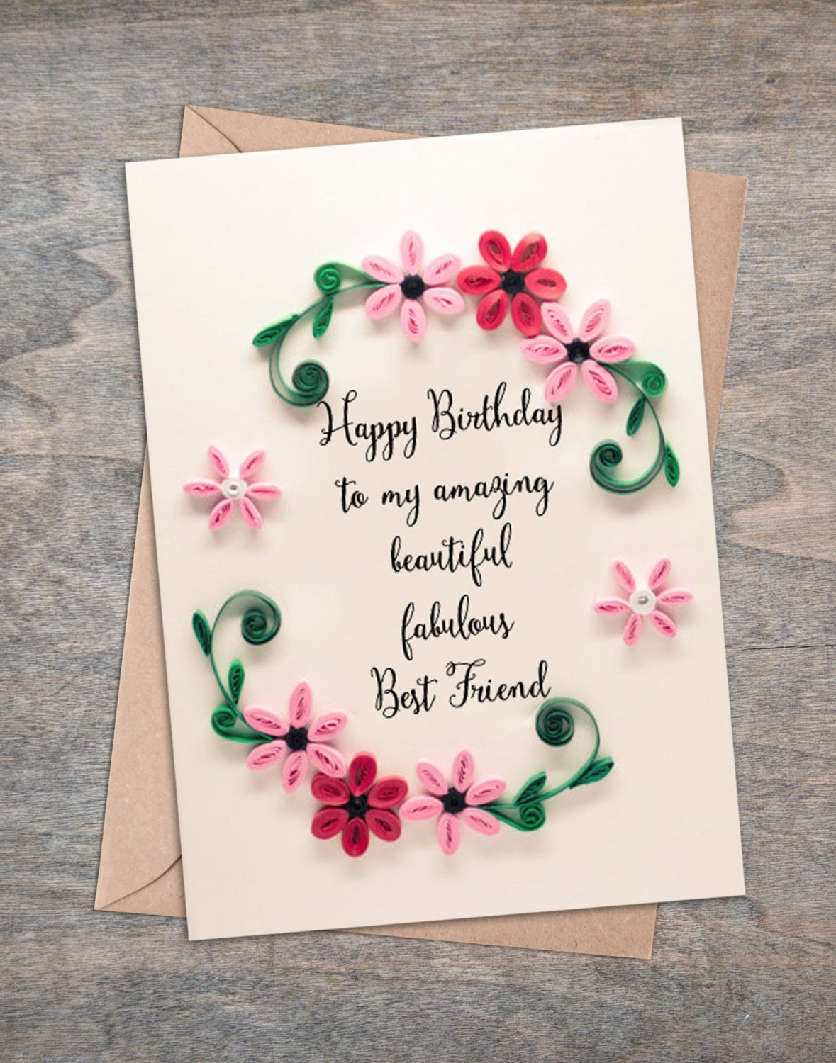 Best Friend Birthday Card Floral Greetings Paper Flowers In Etsy