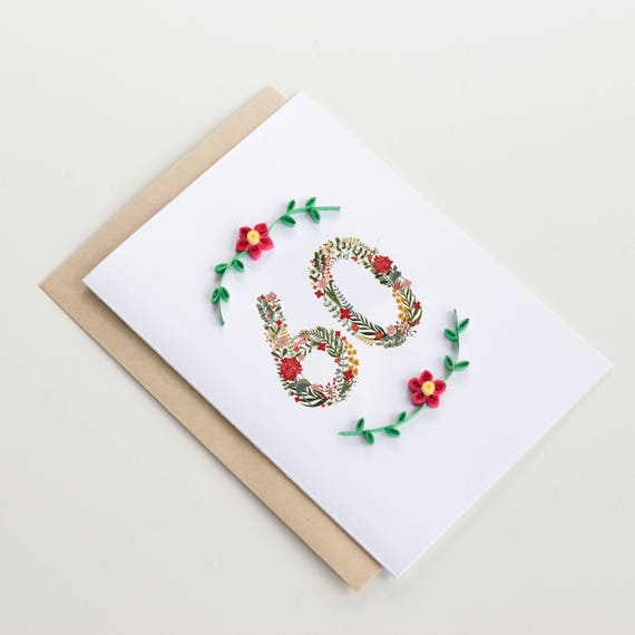 Mum Floral- Sixty Birthday Greeting Card Happy 60th Birthday Card Nan