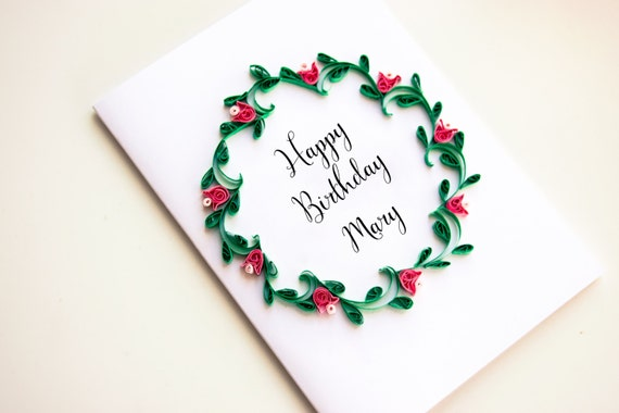 Personalized Birthday Card Floral Wreath With Custom Name Etsy