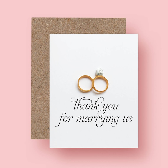 Wedding Officiant Thank You Card Thank You For Marrying Us Thank You Pastor Gift For Officiant Reverend Priest Deacon Rabbi Card
