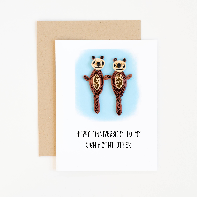 Otter mit Card erhebliche Fischotter-lustige Herzlichen | Etsy