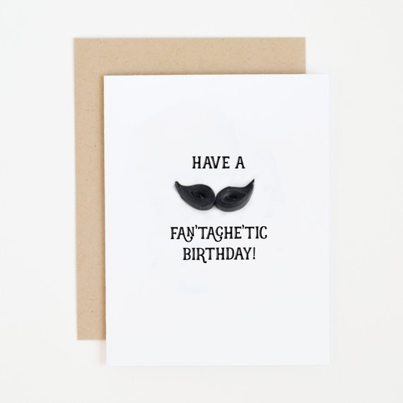 Funny Happy Birthday Card Paper Mustache Pun Greeting For Etsy