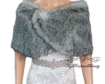 Faux Fur Wrap, Faux Fur stole, Grey Chinchilla Wrap, Fur Shawl, Fur Shrug, Bridal Cape, Bridal Stole, Faux Fox Wrap, FW108-GREYCHIN