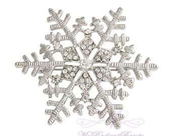 Snowflake Brooch, Christmas Snowflake Brooch, Winter Wedding Brooch, Holiday Brooch, Xmas Brooches, Snowflake Pin, Winter Wedding BR0014