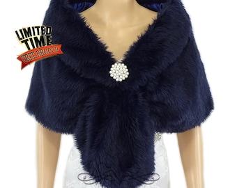 Faux Fur Stole, Navy Blue Faux Fur Wrap, Bridal Shrug, Fur Shawl, Faux Fur Shrug, Wedding Stole, Bridal Fur Wrap, Bridal Stole FS108-NBLUE