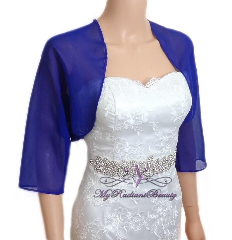6ec22ae2ac5d Bolero Royal Blue Chiffon giacca nozze Chiffon Bolero