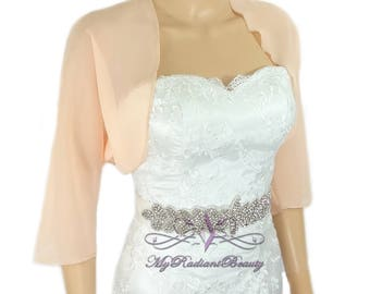 Chiffon Bolero, Wedding Apricot Bolero, Blush Peach Jacket, Wedding Shrug, Shrug Bolero, Bridal Bolero, Bolero, Chiffon Scarf LCJ108-APRICOT