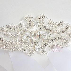 Large Diamond Shape Surround by Crystal Rhinestone Sash Bridal Accessories Diamond Sash SB0006 Bridal Sash Beaded Sash Wedding Sash