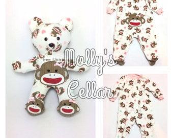 Memory bear, baby sleeper bear, onesie bear, keepsake bear, bear from baby clothes, custom bear from clothes, PJ bear, memorial bear,