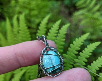 Turquoise healing crystal necklace ~ stainless steel wire wrapped necklace ~ durable, hypoallergenic stainless steel ~