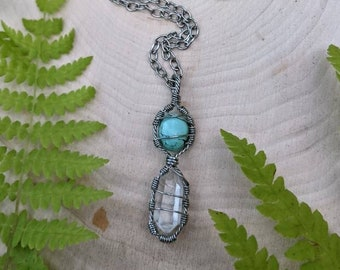 Turquoise & Clear Quartz healing crystal necklace ~ stainless steel necklace ~ handmade wire wrapped necklace ~ healing crystals ~