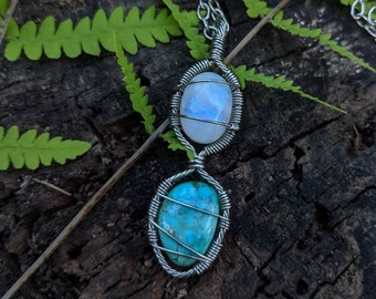 Moonstone & Turquoise healing crystal necklace ~ stainless steel necklace ~ handmade wire wrapped necklace ~ healing crystals ~