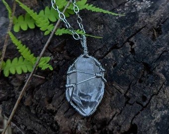 Wire Wrapped Raw Clear Quartz Healing Necklace ~ durable, hypoallergenic stainless steel