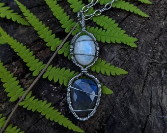 Moonstone & Faceted Labradorite healing crystal necklace ~ stainless steel necklace ~ handmade wire wrapped necklace ~ healing crystals ~