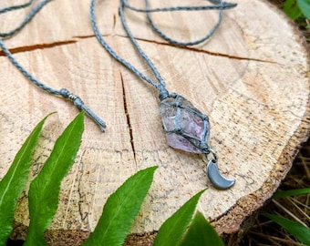 Amethyst String Wrapped Necklace with stainless steel moon ~ Healing Stones ~ Crystal Necklace ~ Creativity