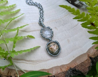 Rose Quartz & Labradorite healing crystal necklace ~ stainless steel necklace ~ handmade wire wrapped necklace ~ healing crystals ~