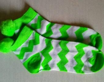 Pompom socks Chevron, ZigZag, 1 pair -Very cute-sz. 4-10, 9-11