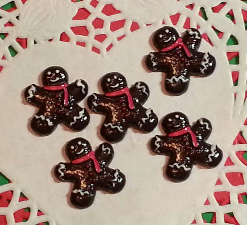 Cabochon Embellishments Flatback Dark Chocolate Gingerbread Man For Hair Bows Decor Scrapbook Resin 5 Pc Approx 22mm