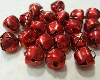 Bells,  Jingle Bells, Christmas Ornaments/ Charms/Pendants/Decor - 20pc - 1/2 inch (10mm) - metal -red