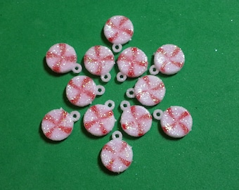 Christmas Frosted Peppermint Charms/Pendants/Decor - 13mm - 12pc - Plastic