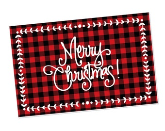 Paper Placemats | Merry Christmas Buffalo Check