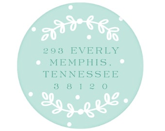 Robins Egg Blue Dots and Laurel Return Address Sticker - Personalized!