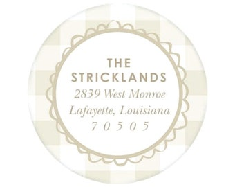 Tan Gingham Return Address Sticker - Personalized!