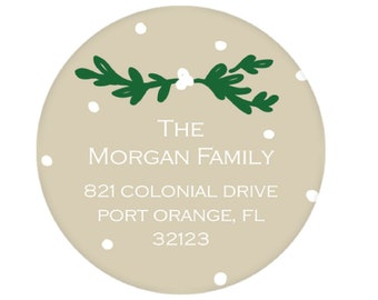 Tan Lauren & Dot Return Address Sticker - Personalized!