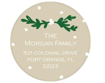 Tan Lauren & Dot Return Address Sticker - Personalized!